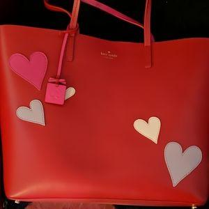 Lrg. Kate Spade Leather Heart Tote Flirt Rare ♥️